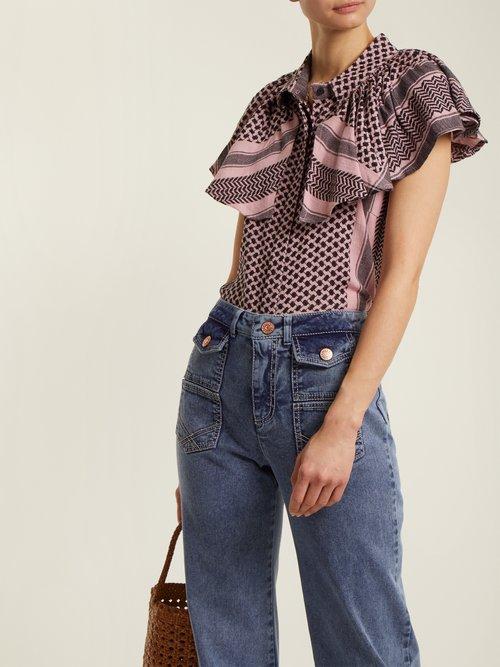 Neobe scarf-jacquard cotton top by Cecilie Copenhagen