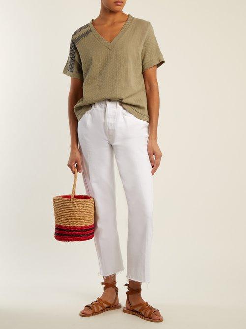 Villablack scarf-jacquard A-line cotton top by Cecilie Copenhagen
