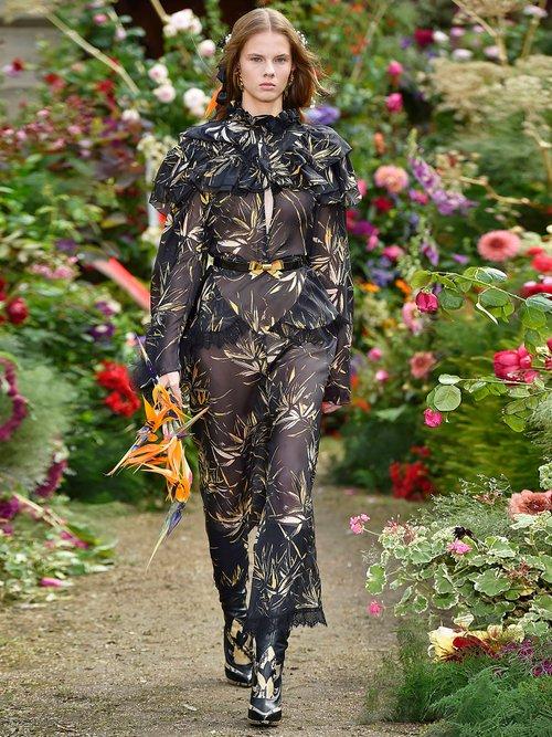 Palm-print silk-chiffon blouse by Rodarte