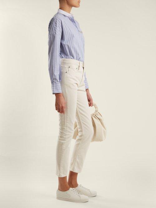 Embellished-pocket striped cotton-blend shirt by Brunello Cucinelli