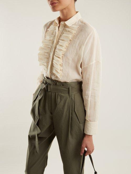Ruffled-bib semi-sheer cotton shirt by Brunello Cucinelli