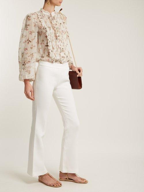 Ruffled pintuck blouse by Zimmermann
