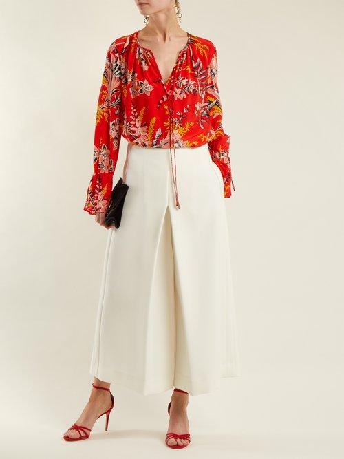 Avalon poppy-print silk-crepe blouse by Diane Von Furstenberg