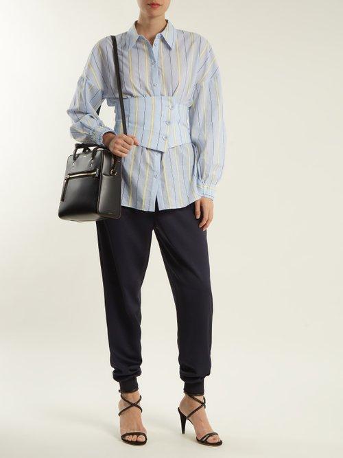 Corset-detail striped cotton-blend shirt by Tibi