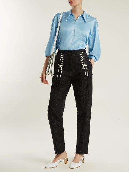 Point-collar zip-up satin top by Tibi