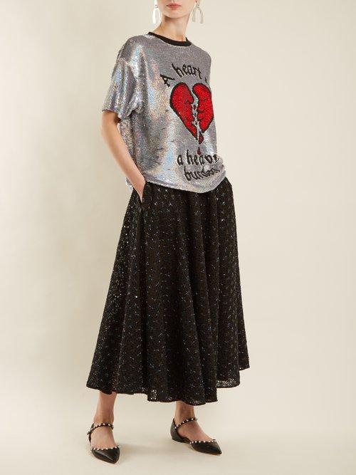 Broken heart sequin-embellished silk top by Ashish