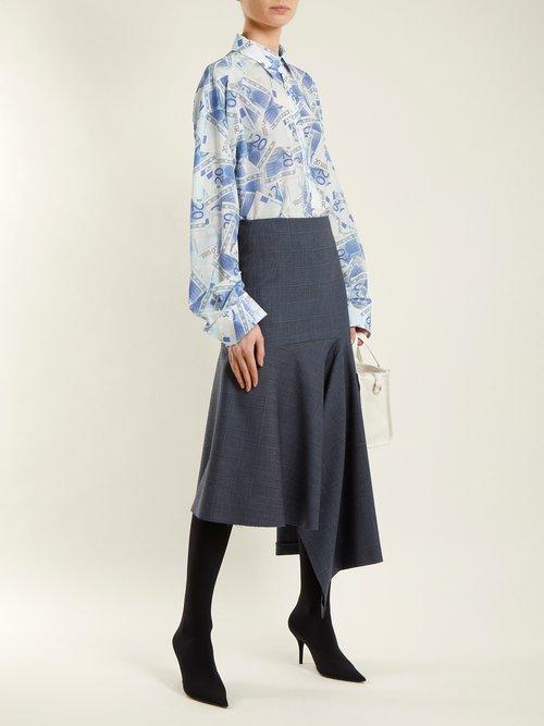 Euro-printed silk-crepe shirt by Balenciaga