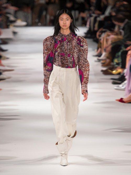 Shaylee fan-print ruffle-trimmed blouse by Stella Mccartney
