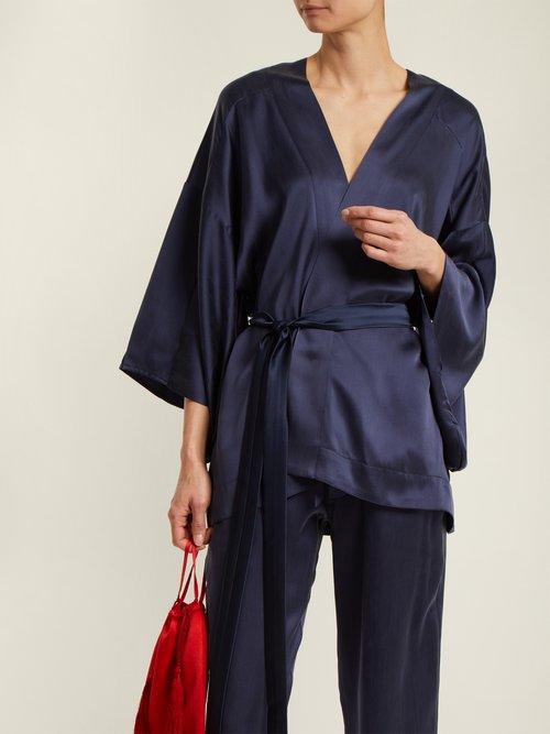 Kimono-sleeved tie-waist silk blouse by Chufy