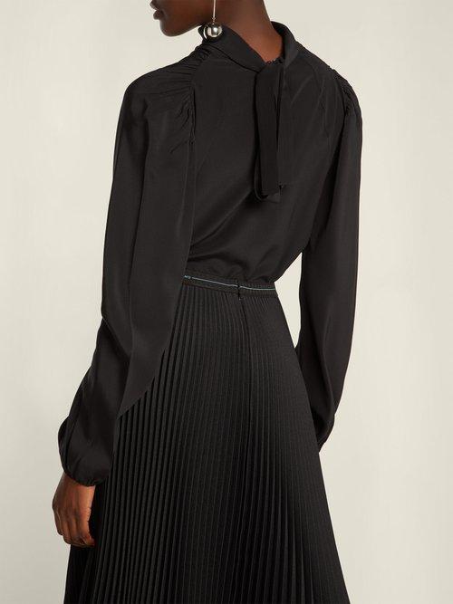 High-neck silk blouse by Prada