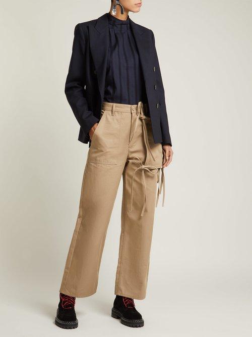 Leno high-neck lace-insert cotton blouse by Chimala