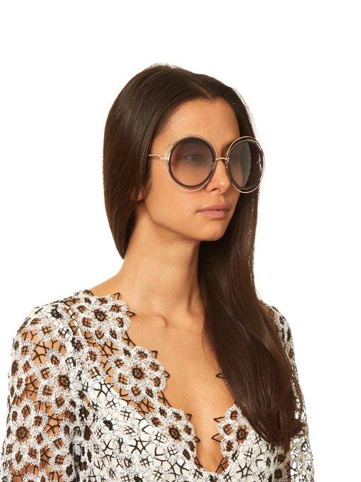 743bcb602e5 Chloe Carlina Torsade Oversized Round Sunglasses