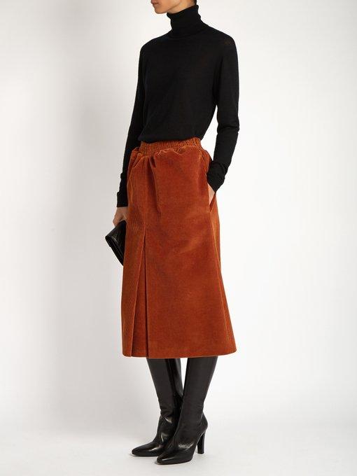 Pleat-front corduroy midi skirt | Balenciaga | MATCHESFASHION.COM UK