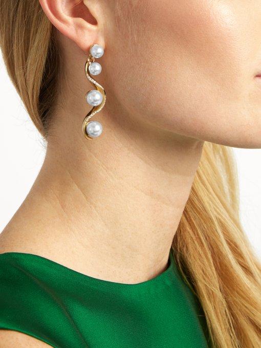 OSCAR DE LA RENTA Waved Crystal-Pearl Drop Earrings