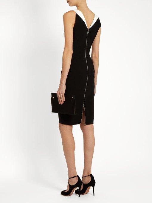 MUGLER COLORBLOCK SLEEVELESS V-NECK DRESS, BLACK/WHITE, BLK/OFF WH, BLACK WHITE