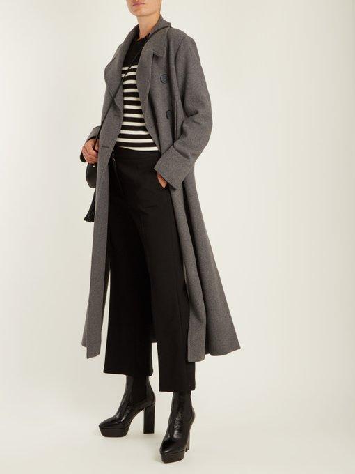 SAINT LAURENT Vika Leather Platform Ankle Boots in Colour: Black