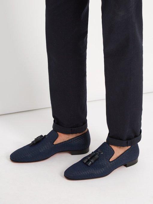 f420e33e062 Dandelion Tassel-Embellished Leather Loafers, Navy