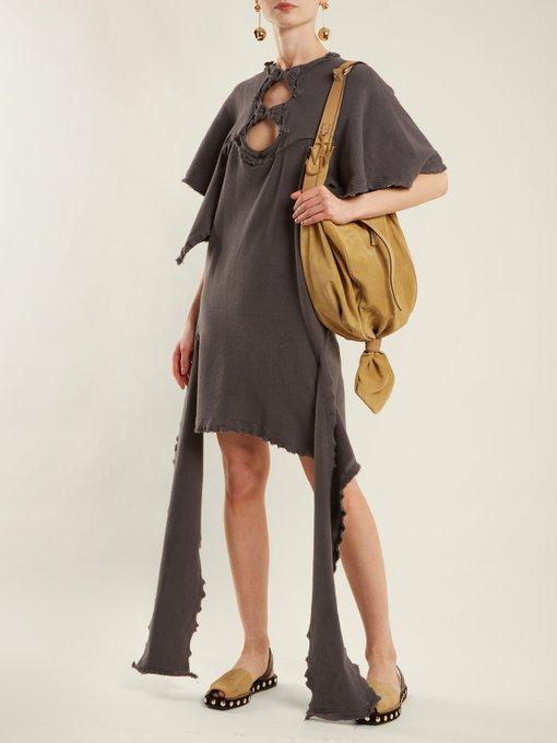 Cut-out distressed cotton-jersey dress J.W.Anderson Cheap Release Dates Sale Cheapest Sale Release Dates Deals ajKGAp