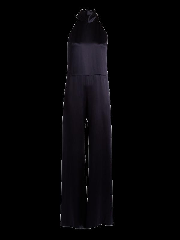 GALVAN Halterneck silk-satin jumpsuit