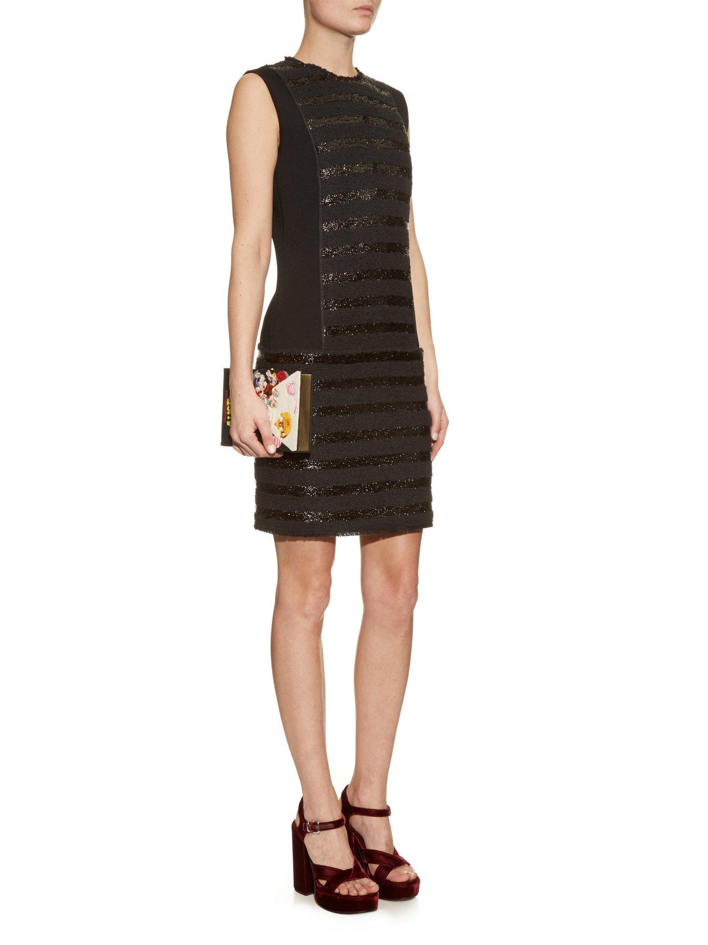 Collarless striped tweed dress by Sonia Rykiel