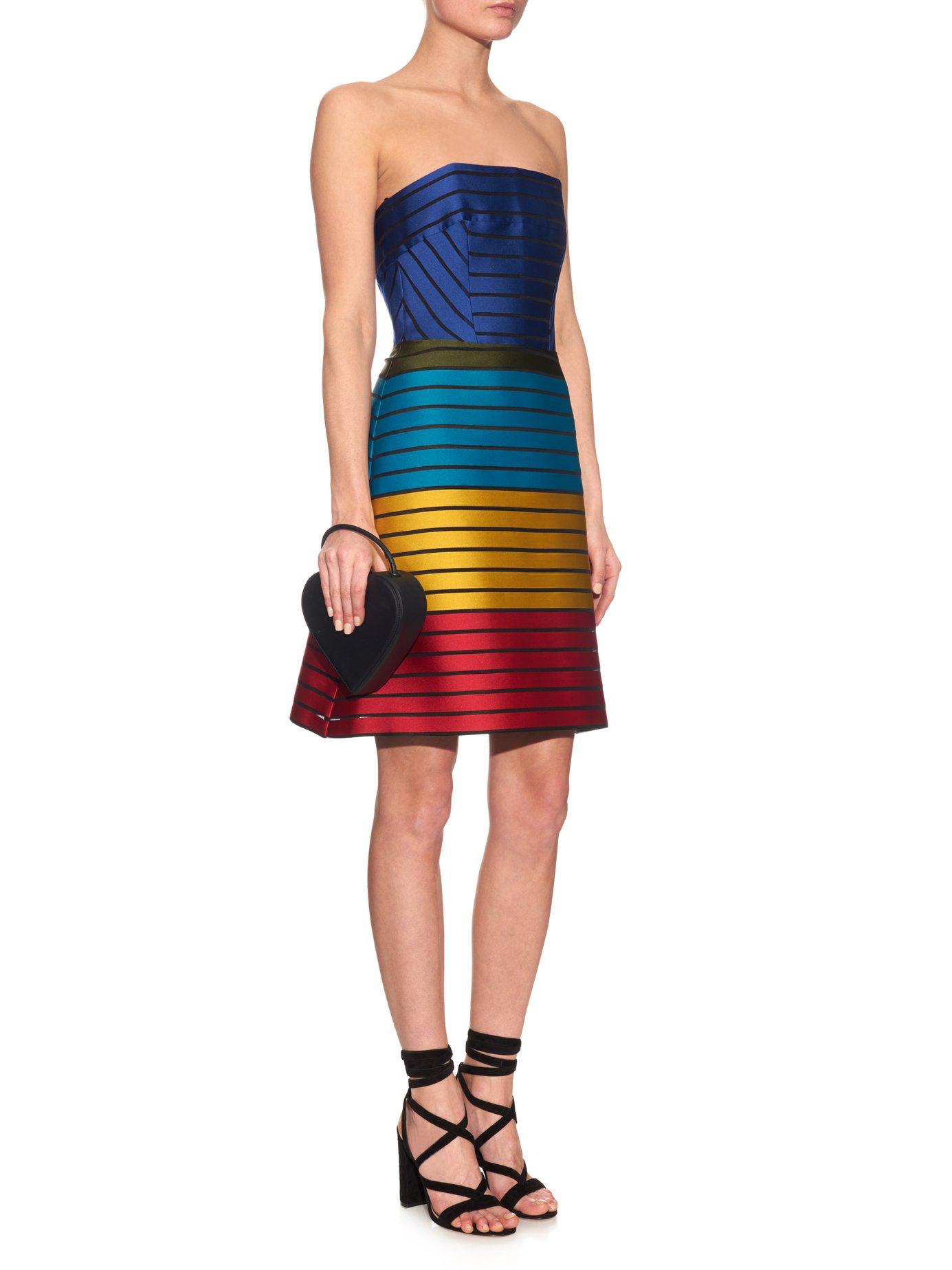 Freesia strapless striped colour-block dress by Mary Katrantzou