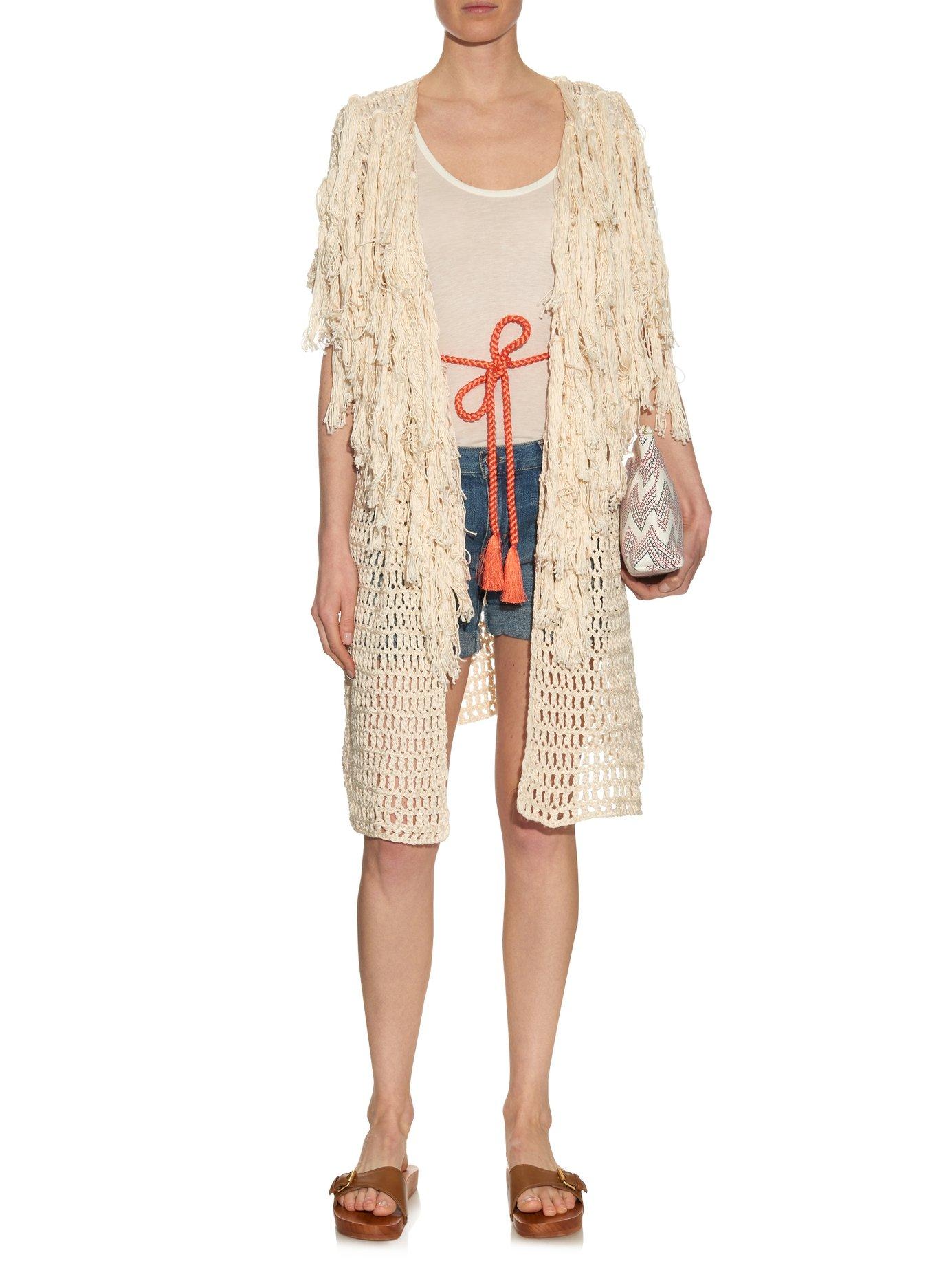 Idris fringed knit cover-up by Tabula Rasa