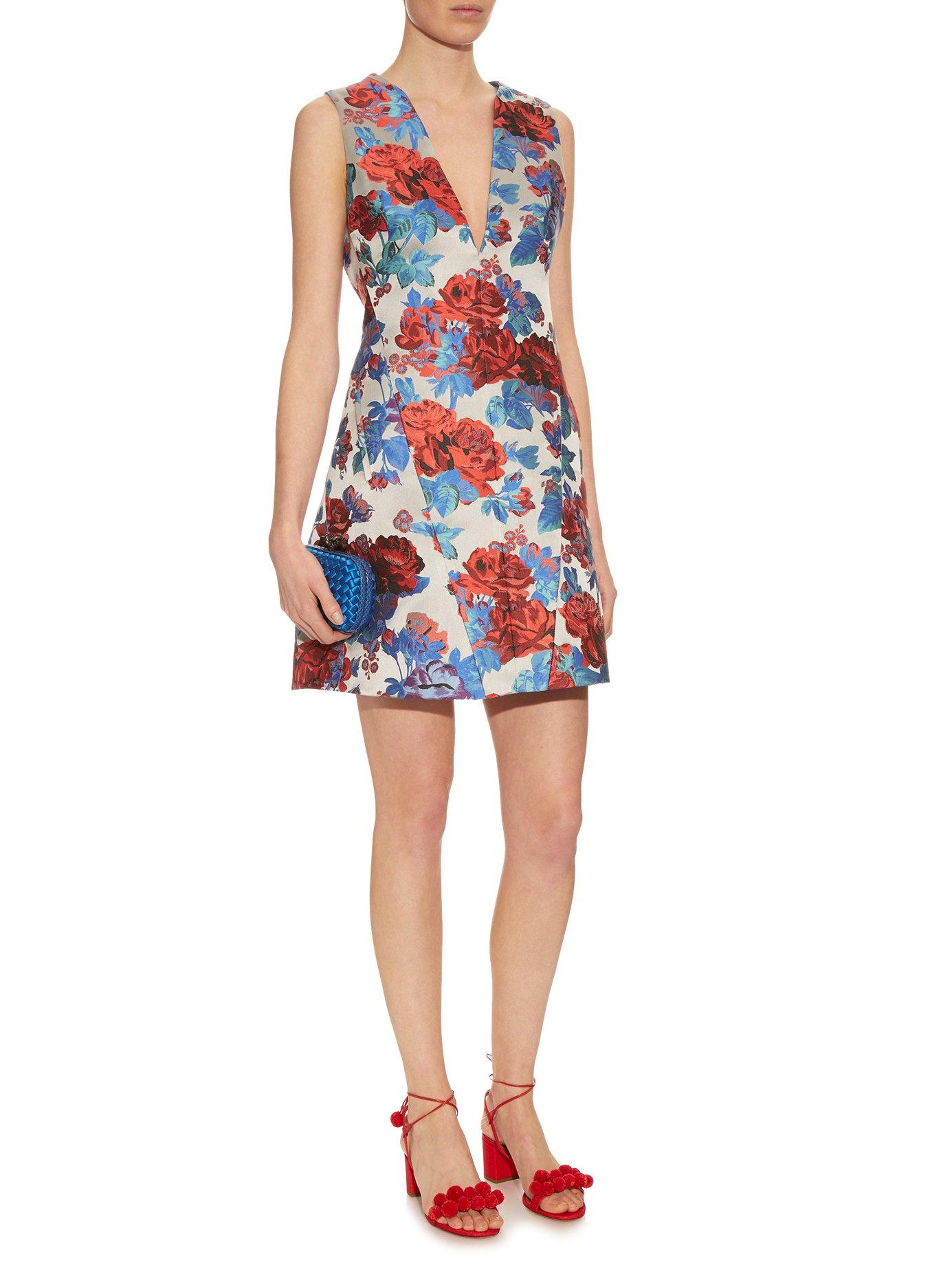 Eridanus floral-jacquard V-neck dress by Mary Katrantzou