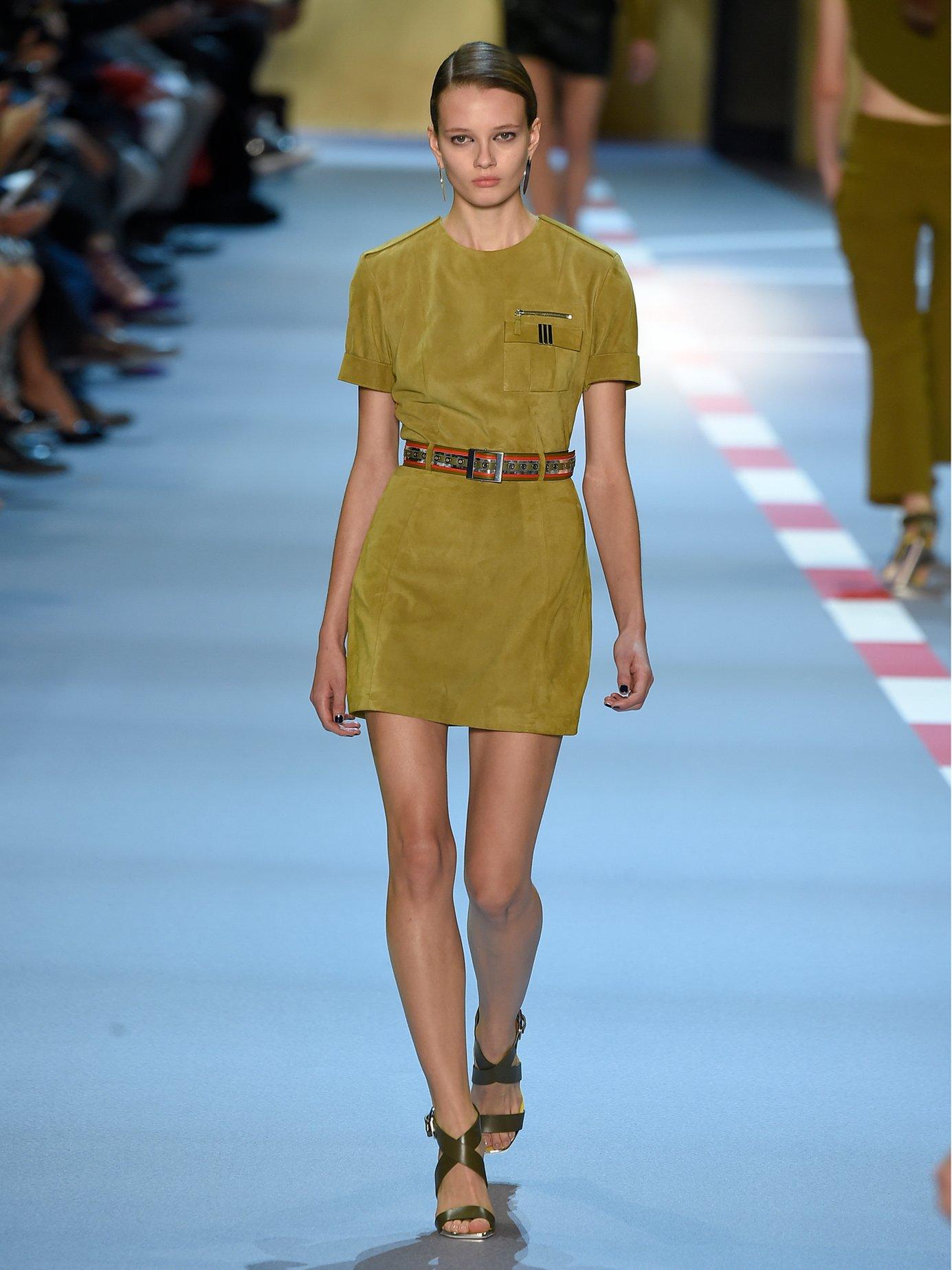 Short-sleeved belted suede dress by Mugler