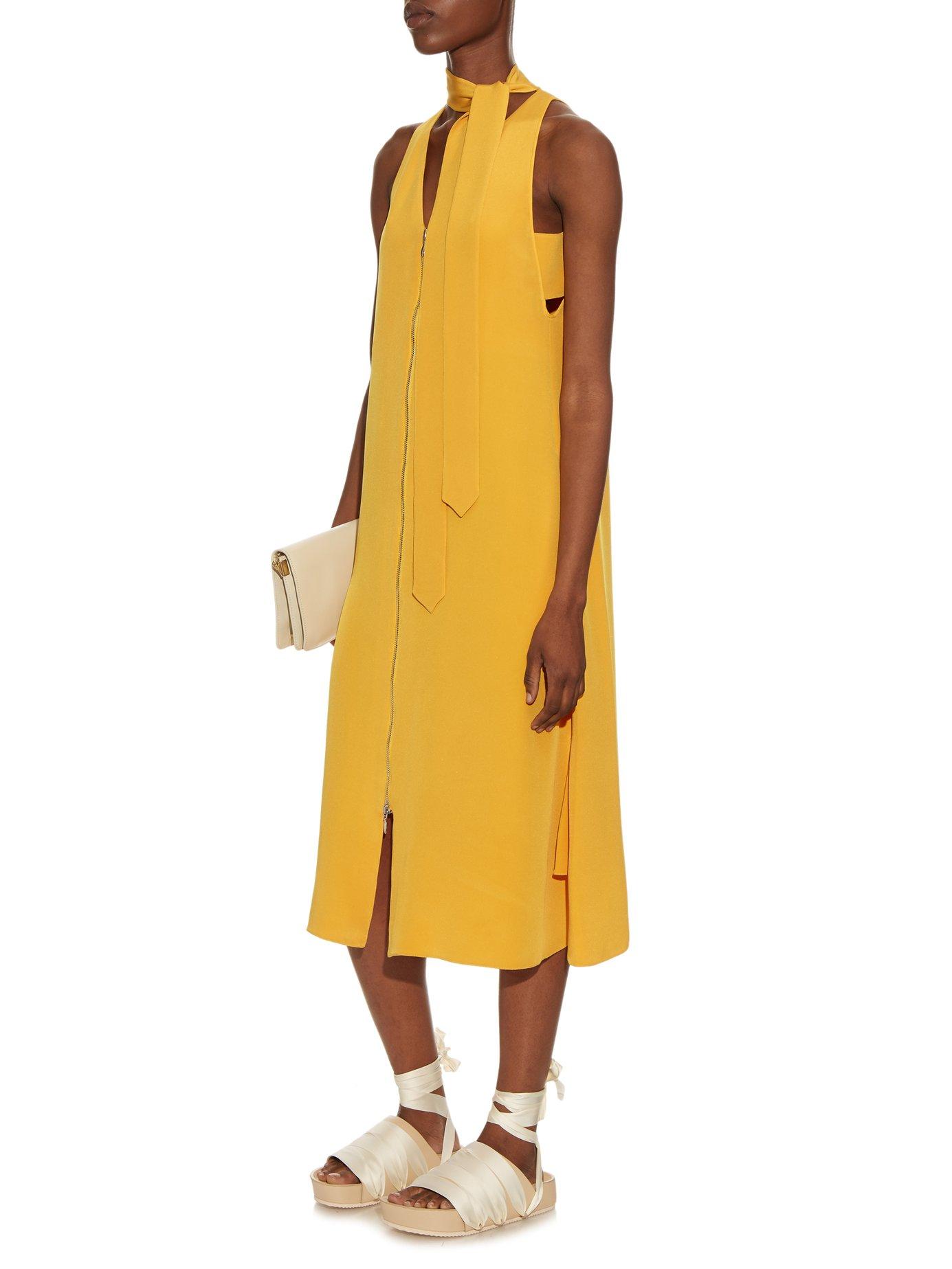 Tie-neck silk-cady dress by Edun