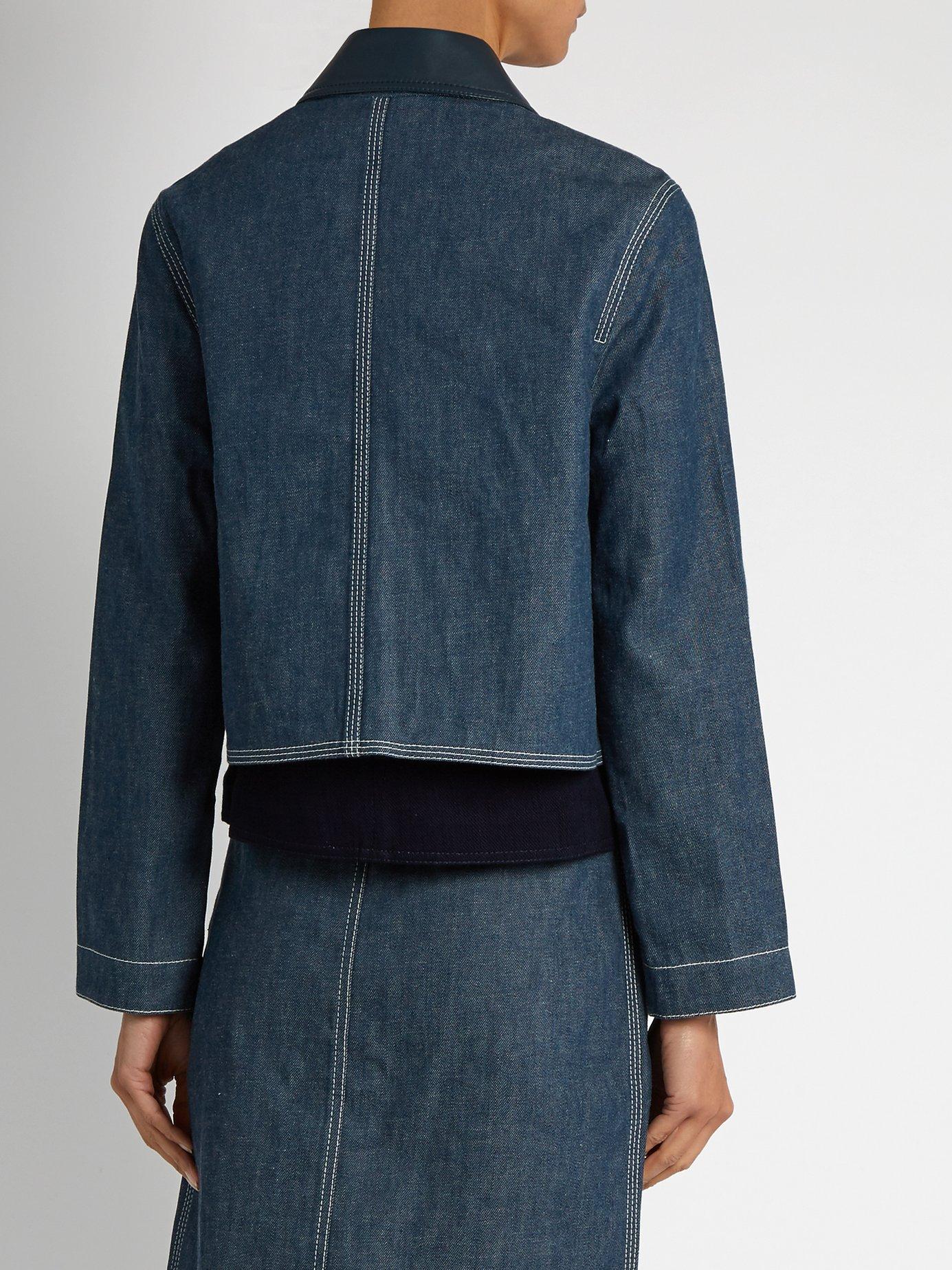 Point-collar patch-pocket denim jacket by Edun