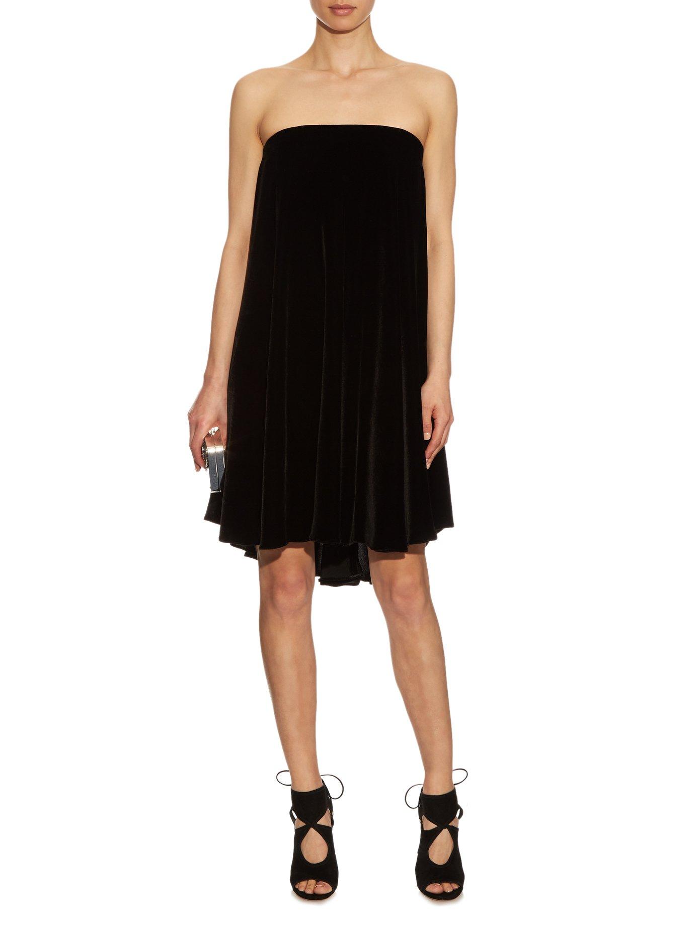 Baubo strapless velvet dress by La Mania