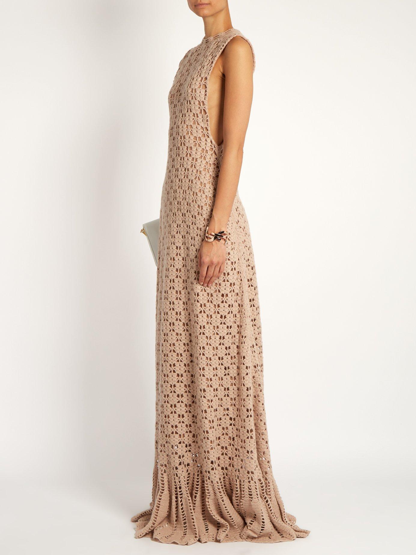 Ruffled-hem cashmere crochet-knit maxi dress by Ryan Roche