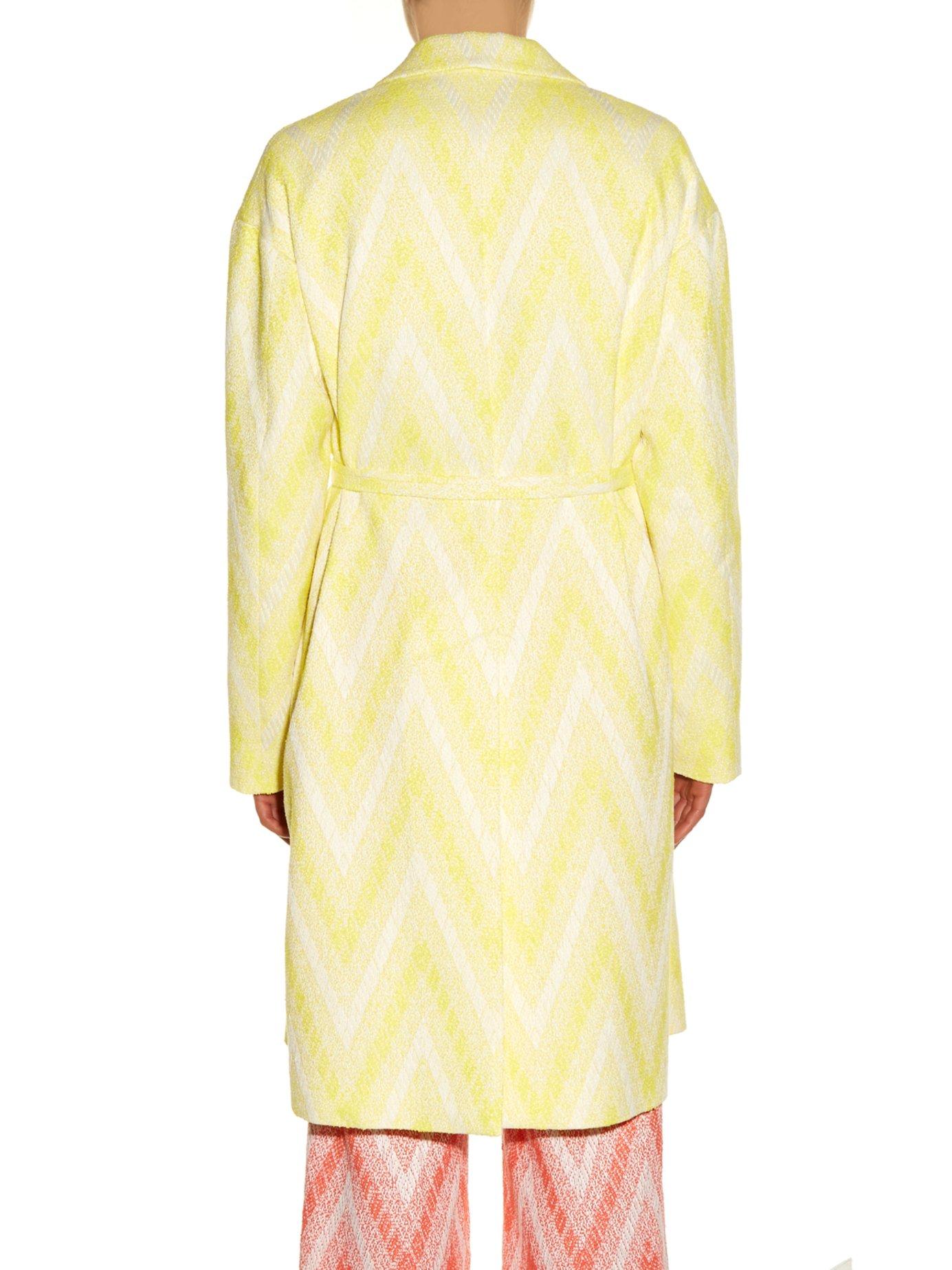 Chevron-jacquard tie-waist coat by Rochas