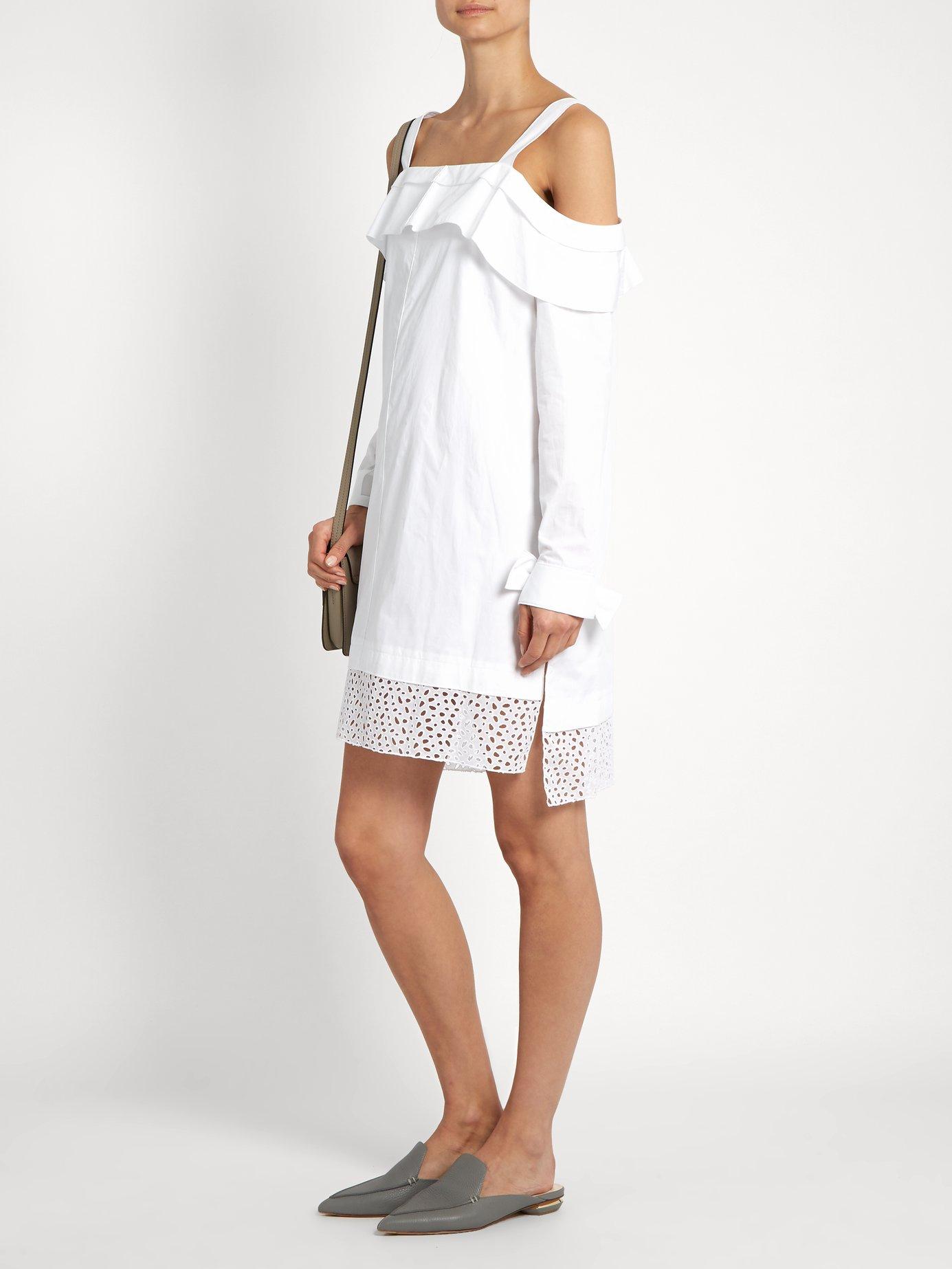 Off-the-shoulder cotton-poplin dress by Proenza Schouler