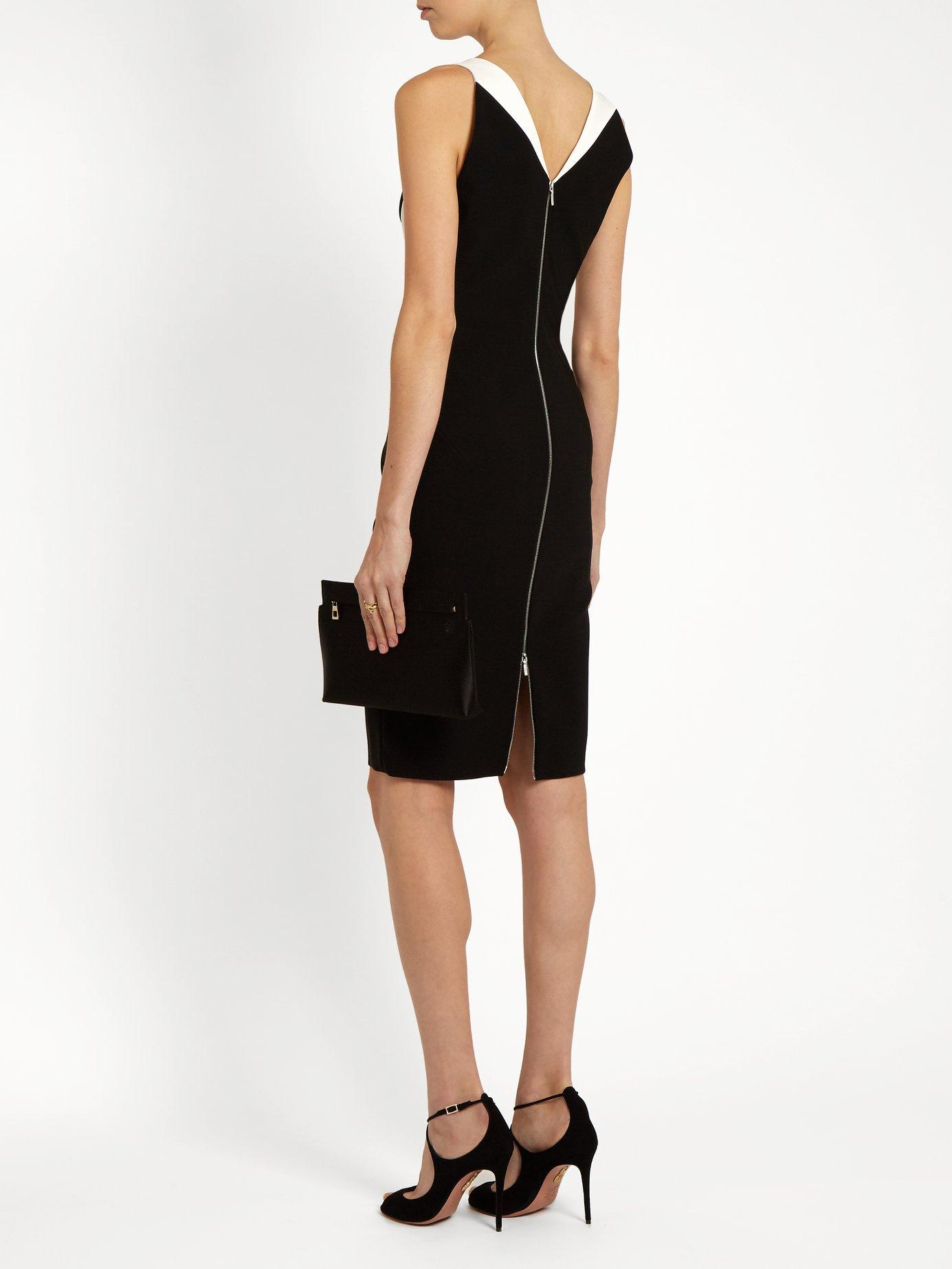 V-neck bi-colour cady dress by Mugler