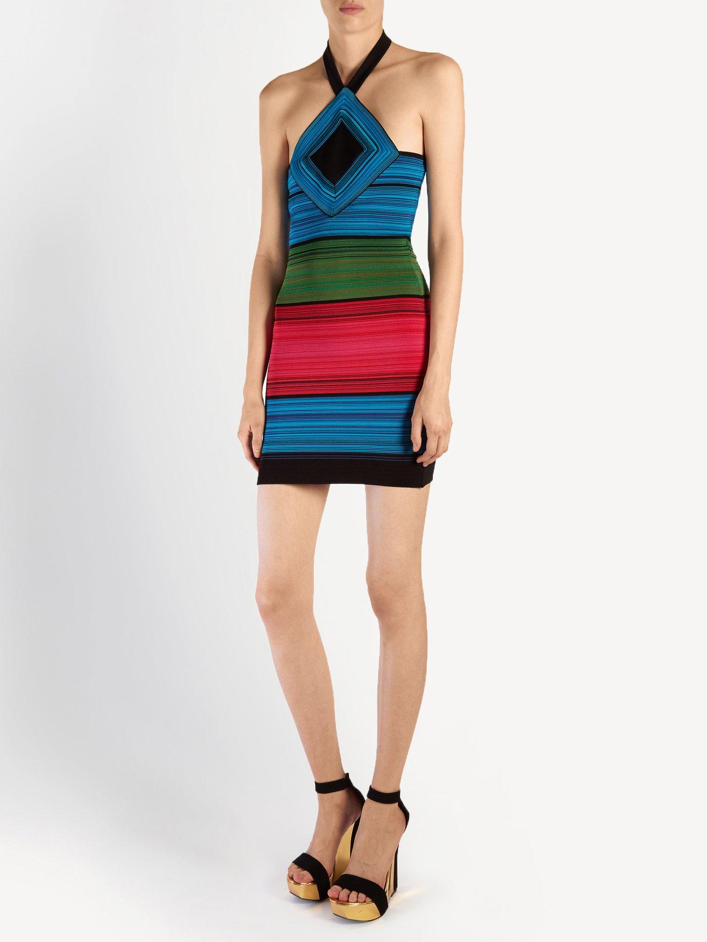 Halterneck striped mini dress by Balmain