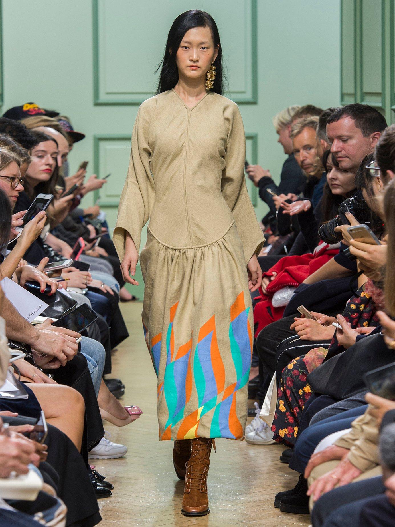 Swoosh-print dropped-waist linen dress by J.W.Anderson
