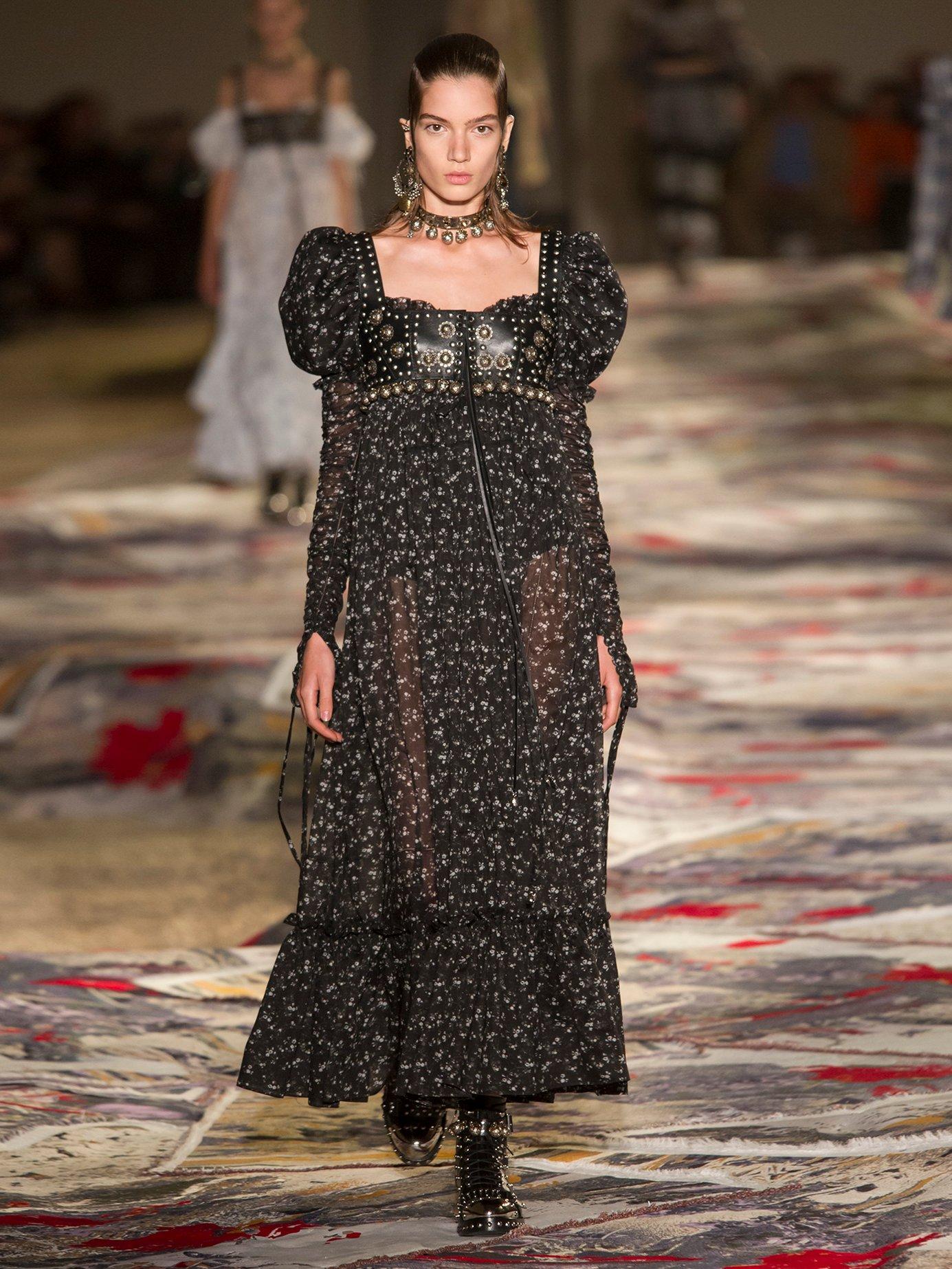 Floral-print empire-waist cotton-voile dress by Alexander Mcqueen