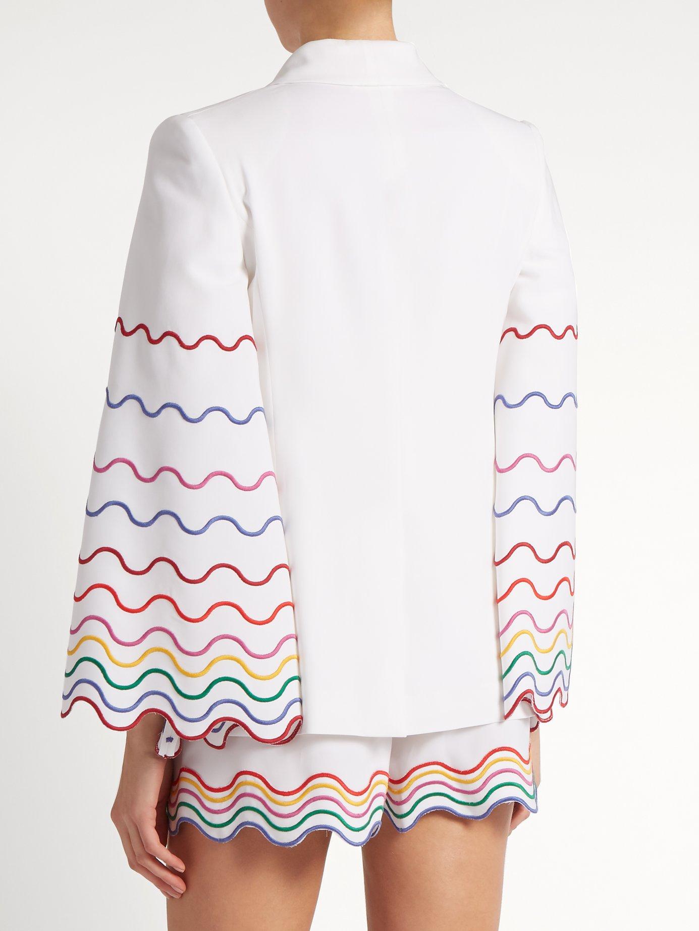 Shawl-collar wave-embroidered cady jacket by Sara Battaglia