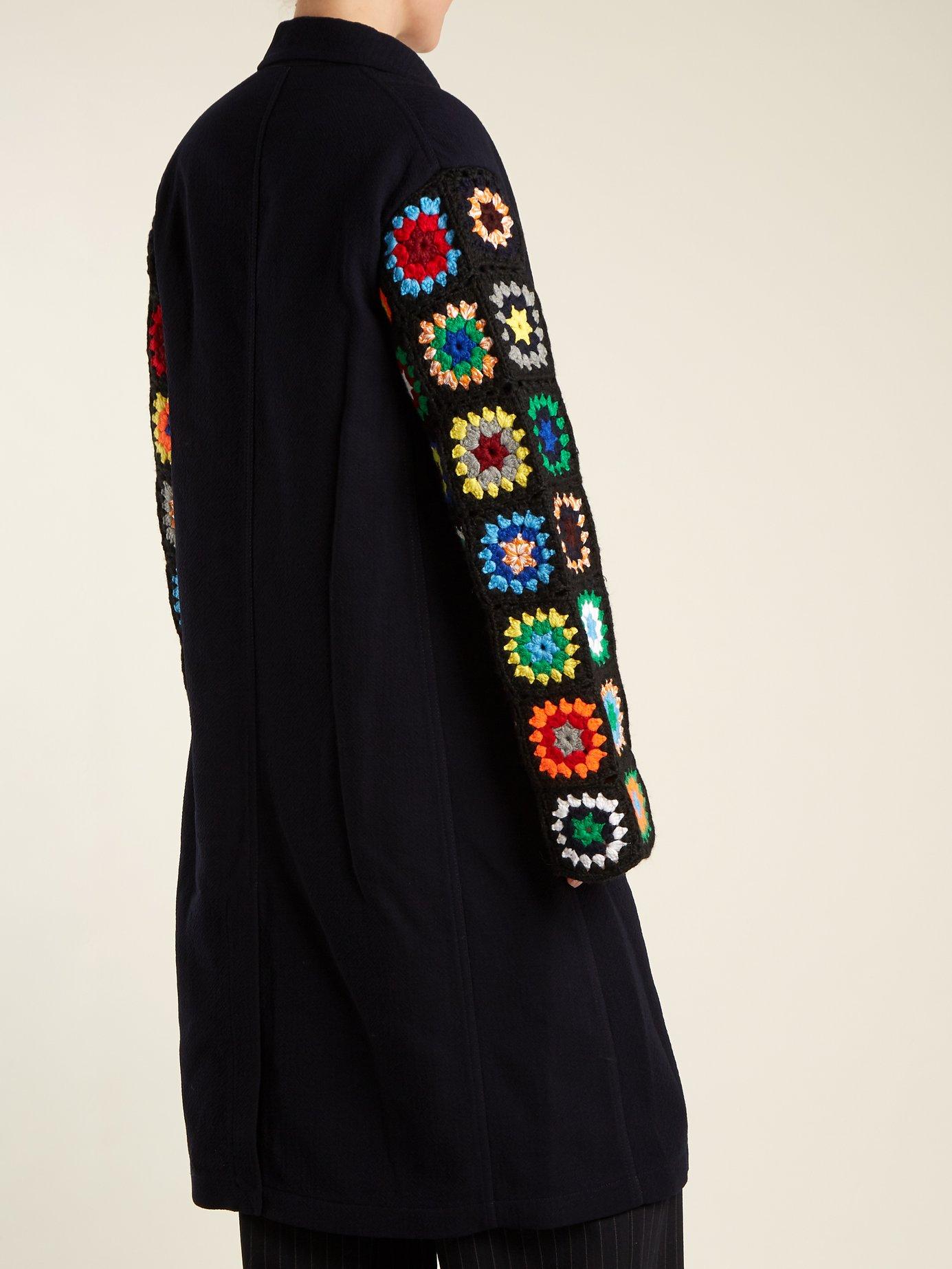 Crochet-sleeve wool-blend twill coat by Jw Anderson