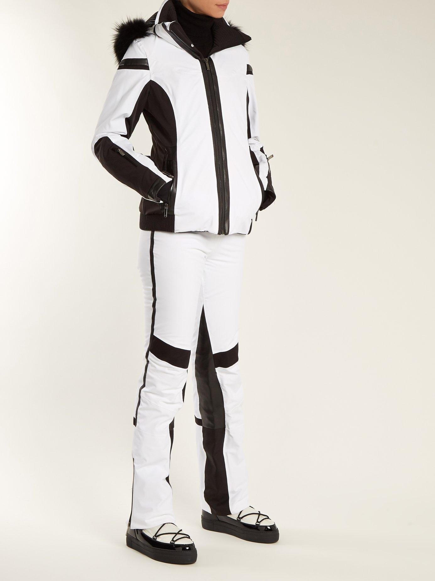 Wave fur-trimmed bi-colour technical ski jacket by Lacroix