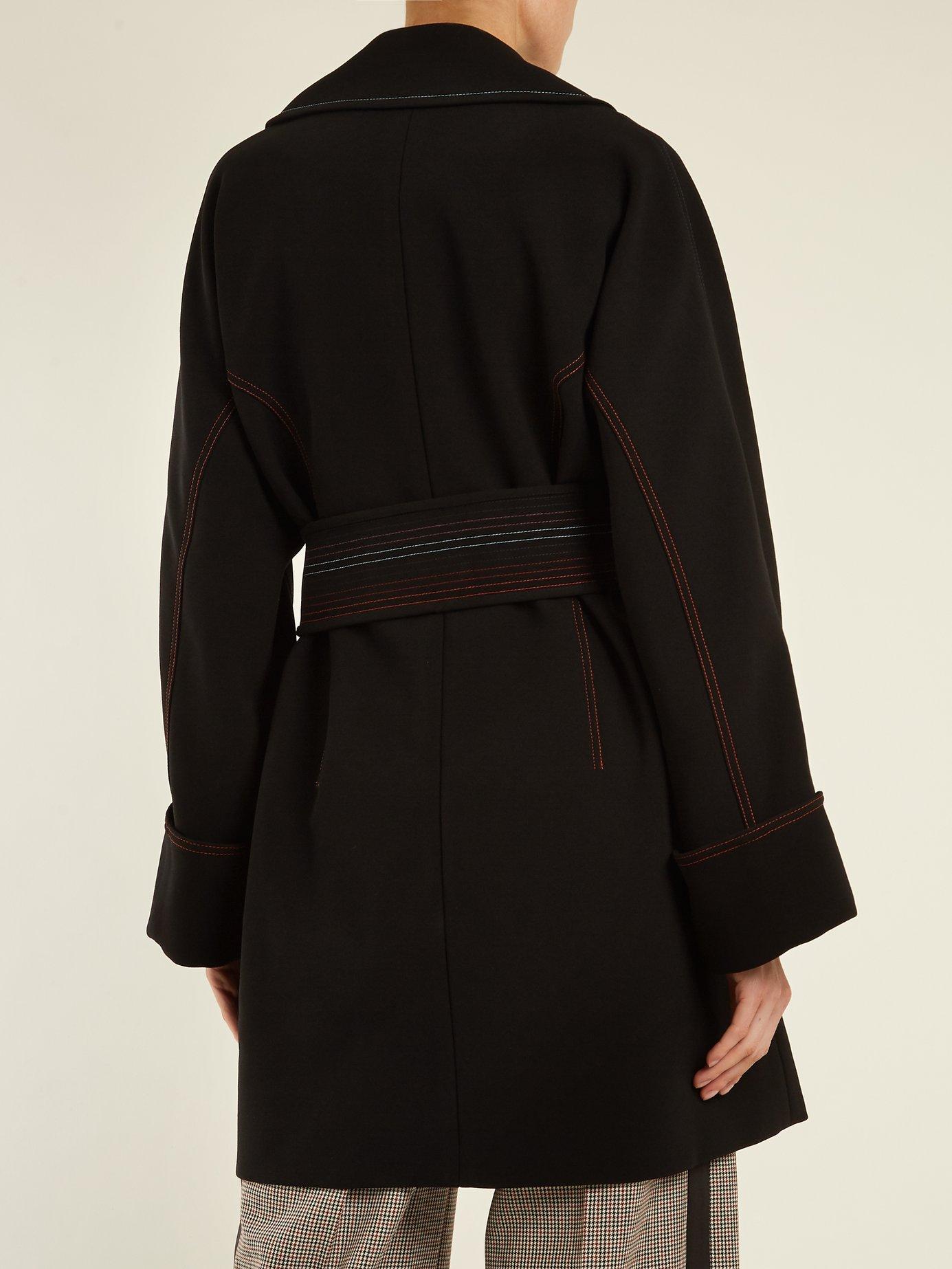 Contrast-stitching belted crepe coat by Diane Von Furstenberg