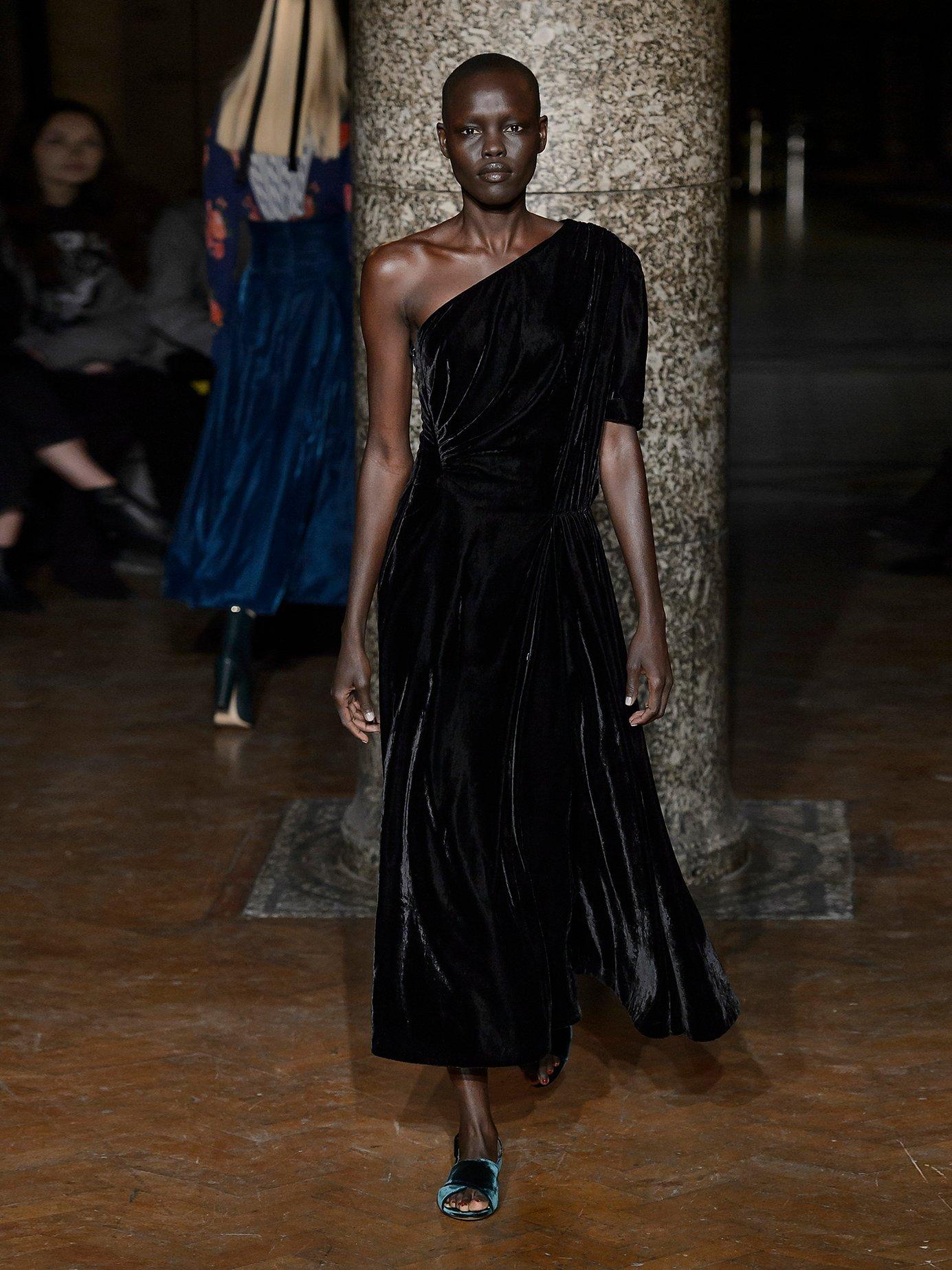 Jenna one-shoulder velvet midi dress by Emilia Wickstead