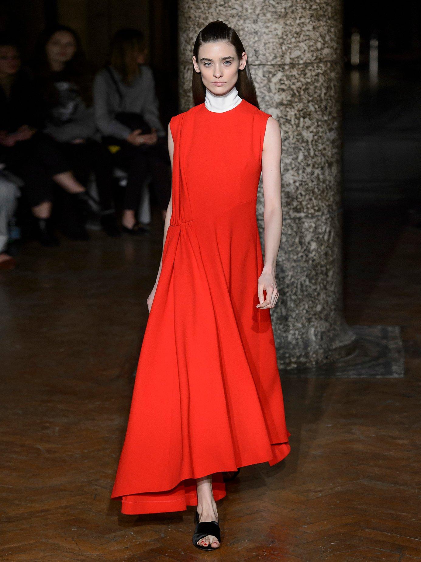 Vivian round-neck pleat-detail wool dress by Emilia Wickstead