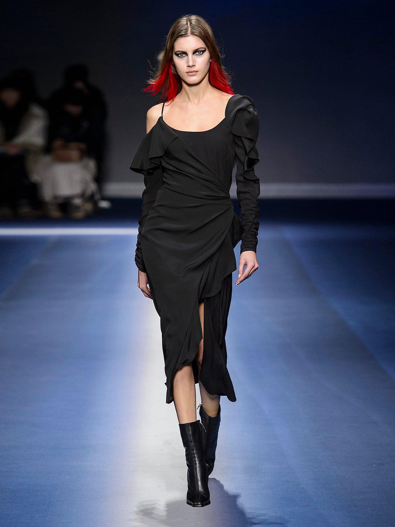 Asymmetric open-shoulder ruffle-detail dress by Versace