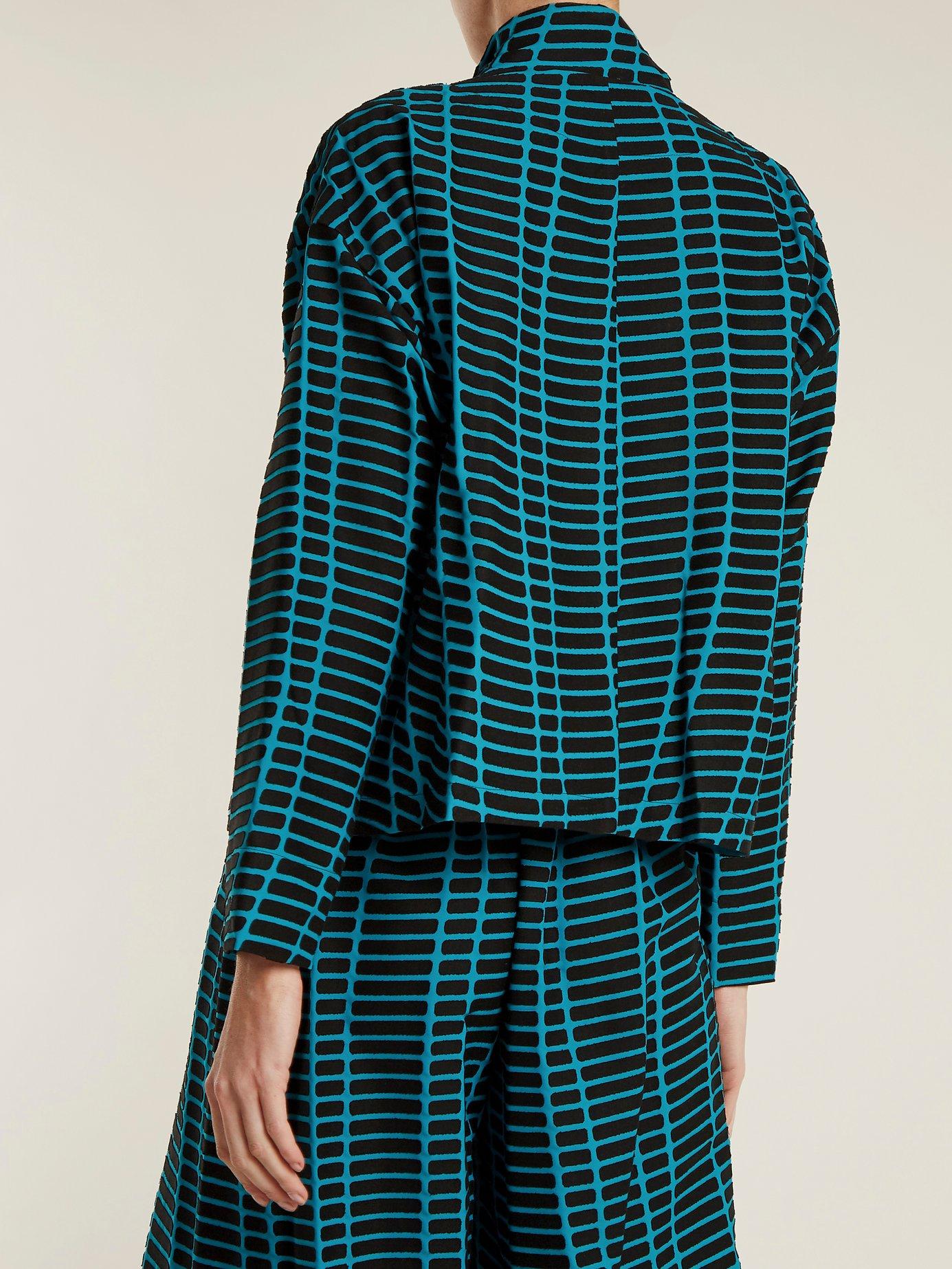 Skew drop-shoulder graphic-embellished jacket by Issey Miyake