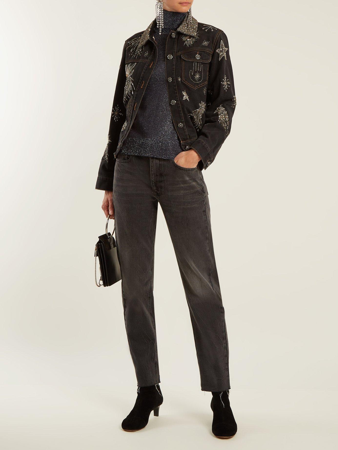 Eloise crystal-embellished denim jacket by Isabel Marant