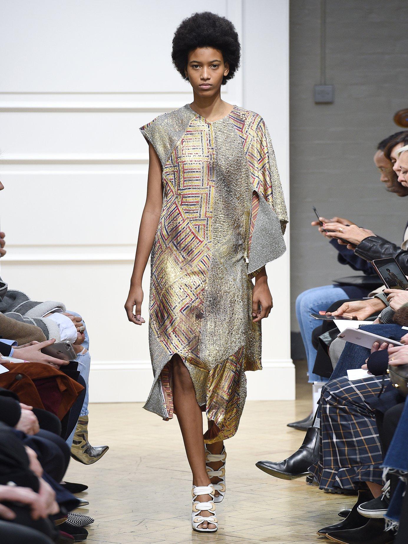 Asymmetric-detail patchwork jacquard dress by J.W.Anderson