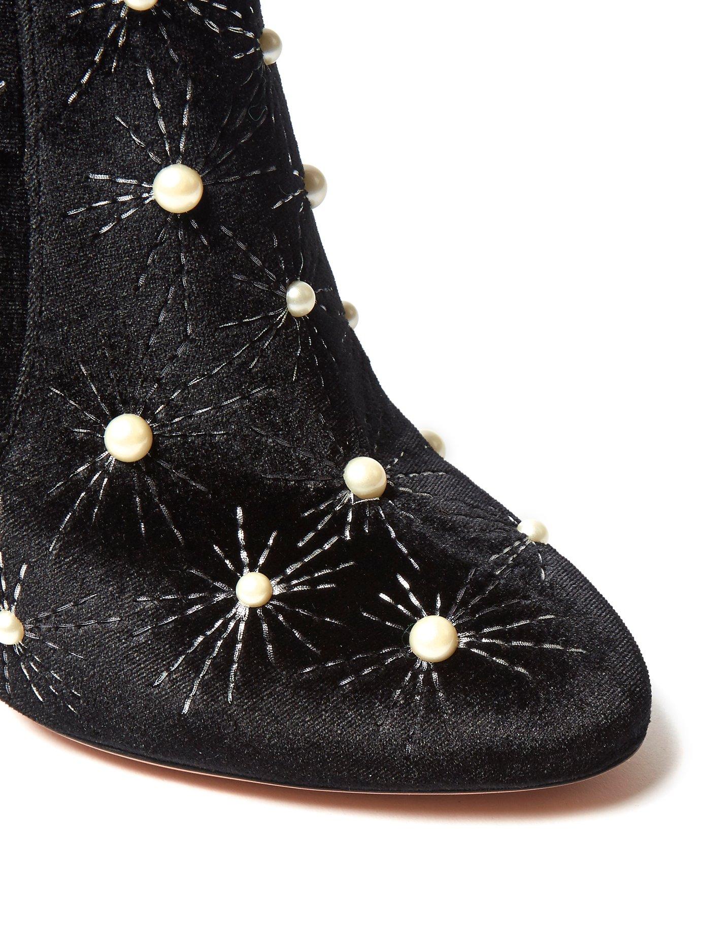 Cosmic Pearls 120 velvet over-the-knee boots by Aquazzura