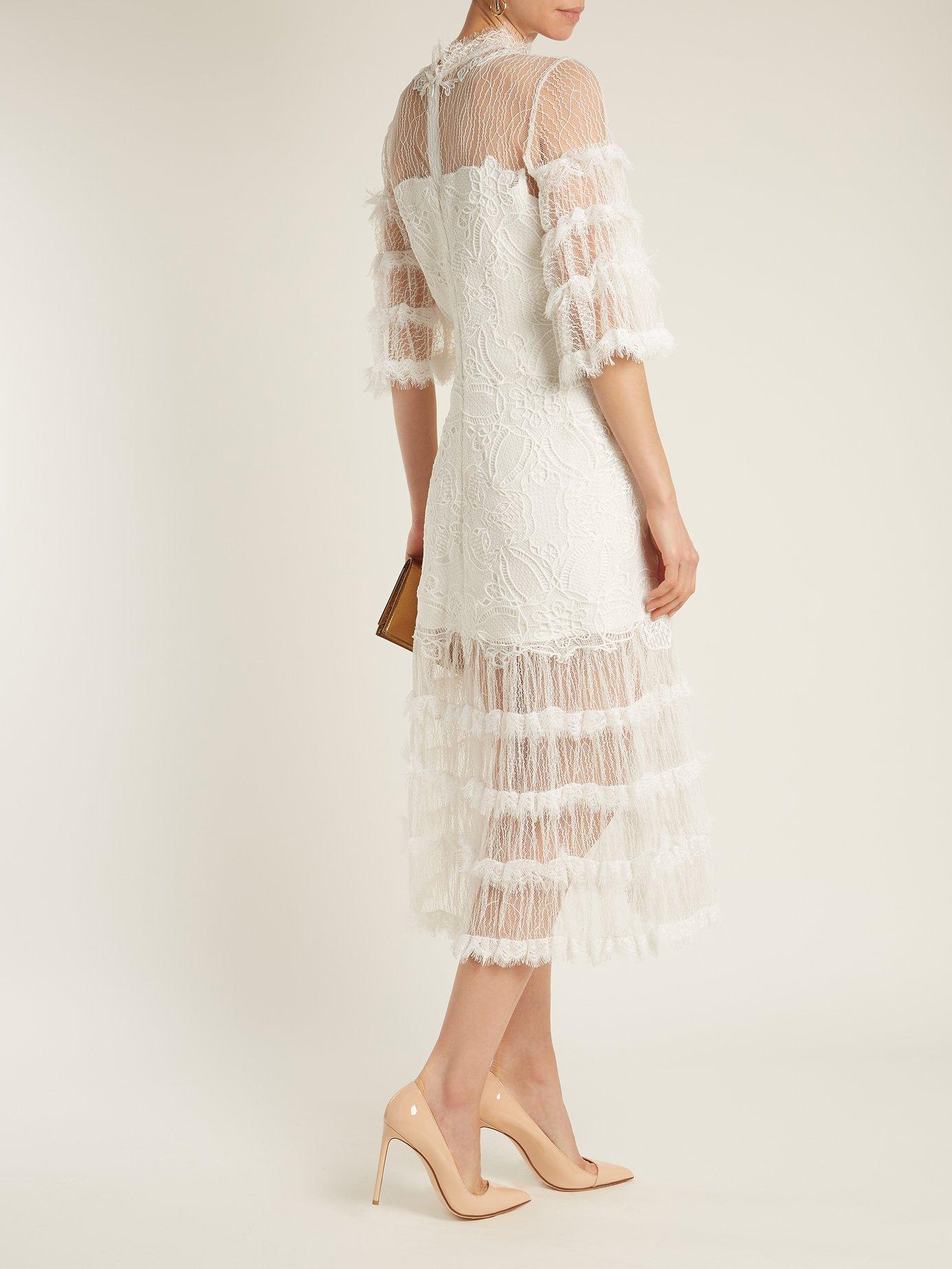 Contrast-panel tiered lace dress by Jonathan Simkhai